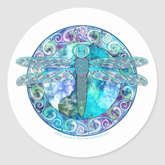 Cool Celtic Dragonfly Classic Round Sticker
