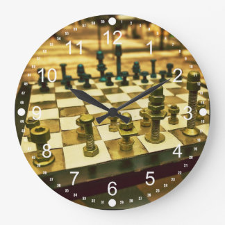 Cool Chess Board with Nuts and Bolts Large Clock