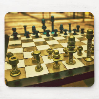 Cool Chess Board with Nuts and Bolts Mouse Mat