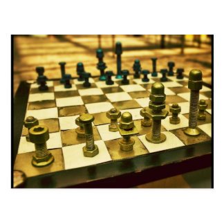 Cool Chess Board with Nuts and Bolts Postcard