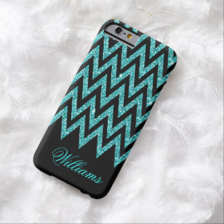 Cool chevron zigzag peacock blue  faux glitter barely there iPhone 6 case