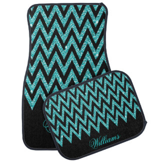 Cool chevron zigzag peacock blue  faux glitter car mat