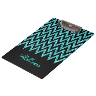 Cool chevron zigzag peacock blue  faux glitter clipboard