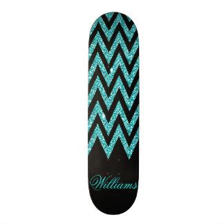 Cool chevron zigzag peacock blue  faux glitter skateboard