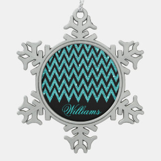 Cool chevron zigzag peacock blue  faux glitter snowflake pewter christmas ornament