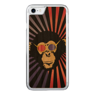 Cool Chimpanzee In 3D Glasses Carved iPhone 8/7 Case