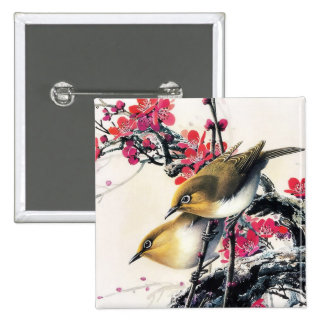 Cool chinese beautiful brown bird red cherry tree 15 cm square badge