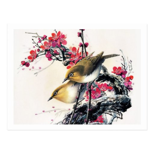 Cool chinese beautiful brown bird red cherry tree postcards