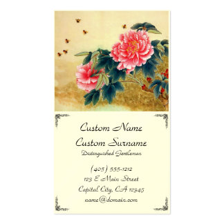 Cool chinese classic watercolor pink flower bee pack of standard business cards