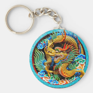 Cool chinese colourful dragon lotus flower art basic round button key ring