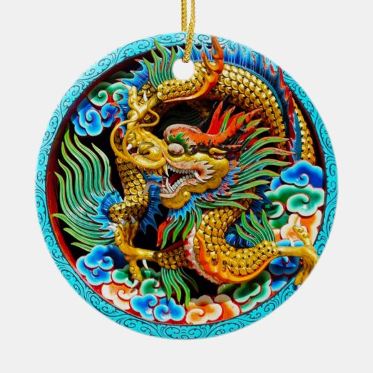 Cool chinese colourful dragon lotus flower art christmas