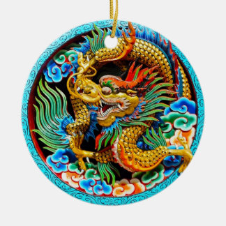 Cool chinese colourful dragon lotus flower art round ceramic decoration