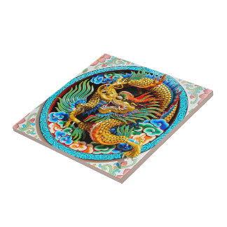Cool chinese colourful dragon lotus flower art small square tile