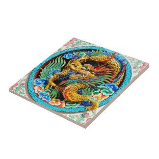 Cool chinese colourful dragon lotus flower art ceramic tile