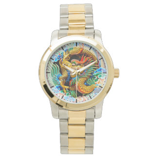 Cool chinese colourful dragon lotus flower art watch