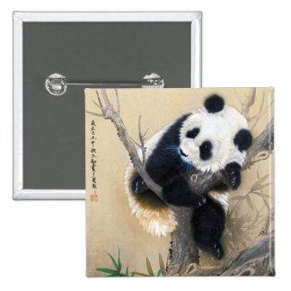 Cool chinese cute sweet fluffy panda bear tree art 15 cm square badge