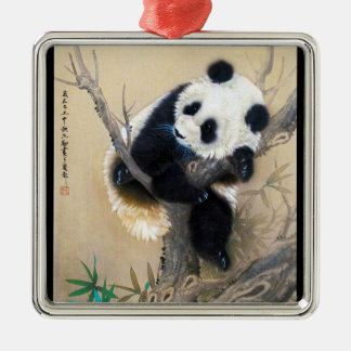 Cool chinese cute sweet fluffy panda bear tree art christmas ornament