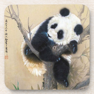 Cool chinese cute sweet fluffy panda bear tree art coaster