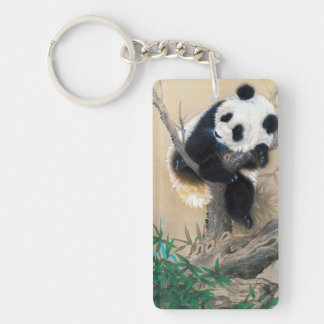 Cool chinese cute sweet fluffy panda bear tree art Double-Sided rectangular acrylic key ring