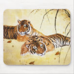 Cool chinese fluffy tiger rest sunset art mouse pad
