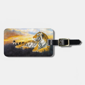 Cool chinese fluffy tiger rest sunset meadow art luggage tag