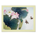 cool chinese lotus leaf pink flower butterfly art poster