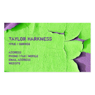 Cool Chipped Paint Peeling Cracked Green Purple Business Card Template