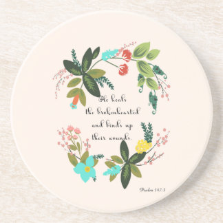 Cool Christian Art - Psalm 147:3 Beverage Coasters