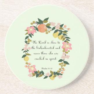 Cool Christian Art - Psalm 34:18 Drink Coaster