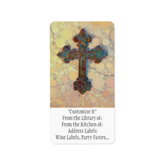 Cool Christian Cross Circle Mosaic Pattern Address Label