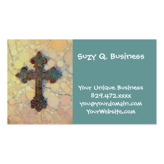 Cool Christian Cross Circle Mosaic Pattern Business Card Templates