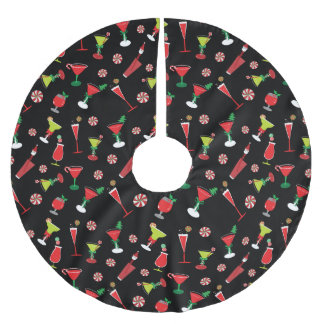 Cool Christmas Cocktails Brushed Polyester Tree Skirt
