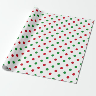 Cool Christmas Polka Dots Red Green Pattern Modern Wrapping Paper
