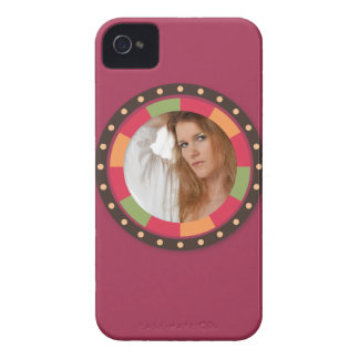 Cool Circle frame - sunset leaf on dark red Case-Mate iPhone 4 Case