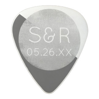 cool circle wedding monogram with couple initials acetal guitar pick