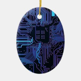 Cool Circuit Board Computer Blue Purple Ceramic Oval Decoration