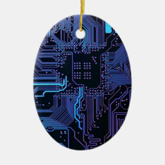 Cool Circuit Board Computer Blue Purple Christmas Ornament