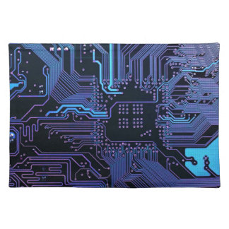 Cool Circuit Board Computer Blue Purple Placemat