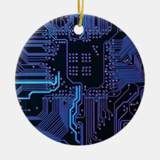 Cool Circuit Board Computer Blue Purple Round Ceramic Decoration