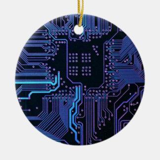 Cool Circuit Board Computer Blue Purple Round Ceramic Decoration