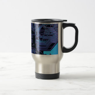 Cool Circuit Board Computer Blue Purple Stainless Steel Travel Mug