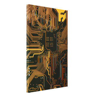 Cool Circuit Board Computer copper and black Canvas Print
