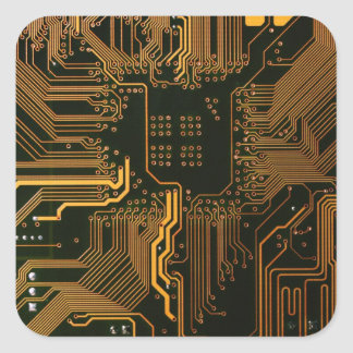 Cool Circuit Board Computer copper and black Square Sticker