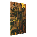 Cool Circuit Board Computer copper and black Stretched Canvas Print