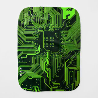 Cool Circuit Board Computer Green Burp Cloth