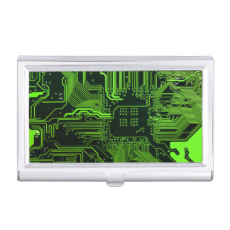 Cool Circuit Board Computer Green Business Card Holder