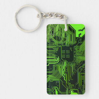 Cool Circuit Board Computer Green Double-Sided Rectangular Acrylic Key Ring