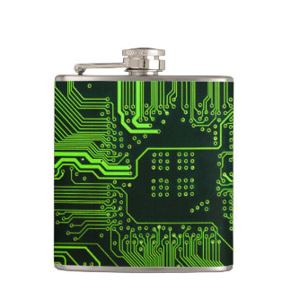 Cool Circuit Board Computer Green Hip Flask