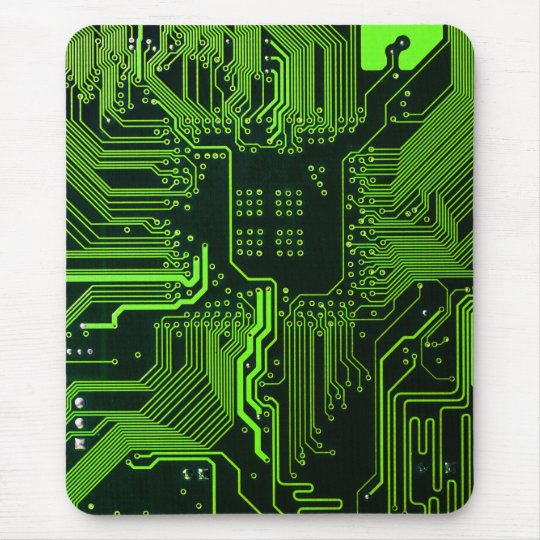 Cool Circuit Board Computer Green Mouse Mat