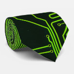 Cool Circuit Board Computer Green Tie